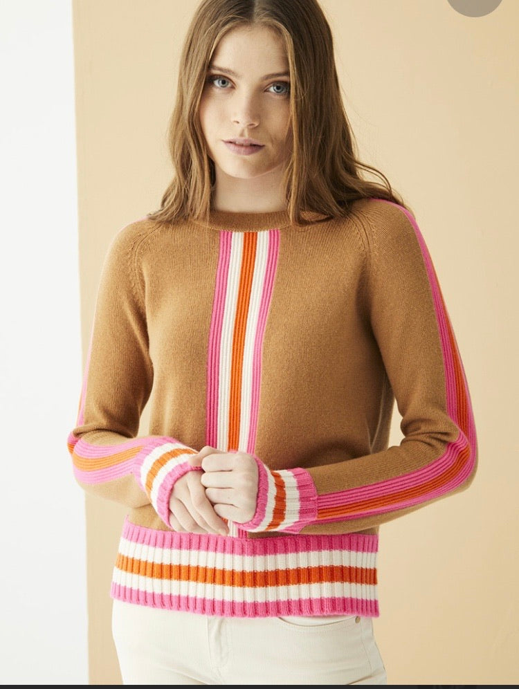 Lorene Sweater in Tan with Pink, Ivory and Orange Trims