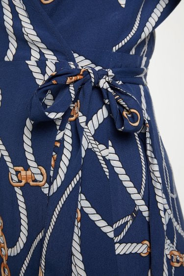Navy Wrap Dress Chain Print
