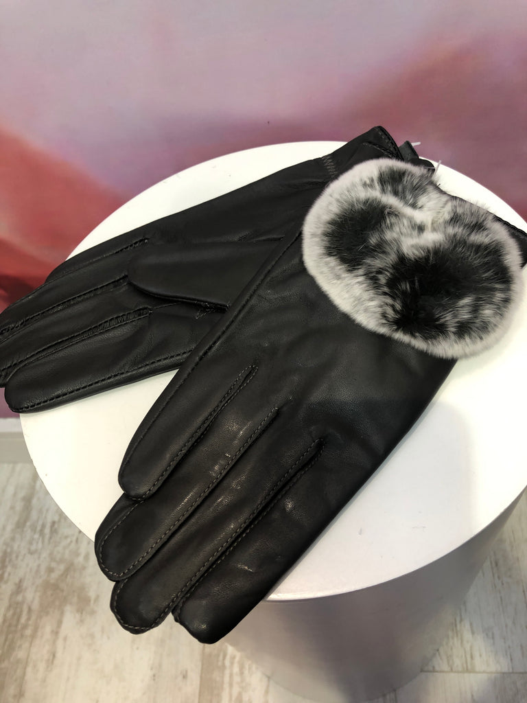 Grey Leather Gloves with Fur Lining