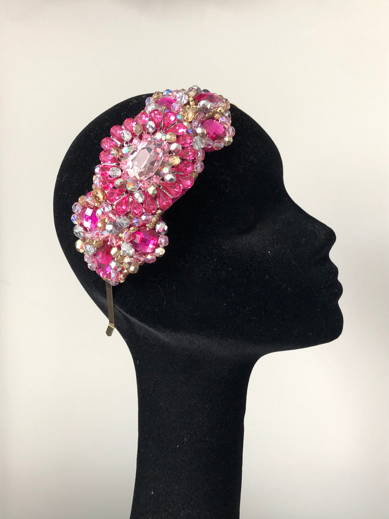 Large Plumeria Headpiece in Pink Silver and Gold Crystals