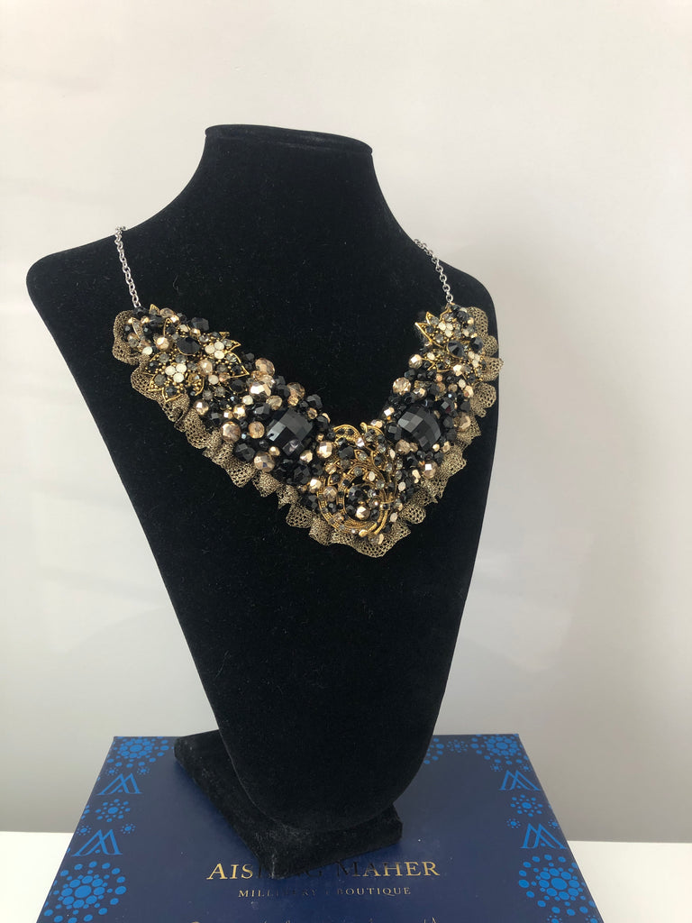 V Collar - Black & Gold with Gold Lace
