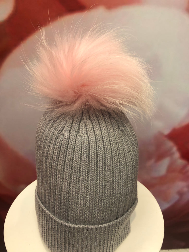 Light Grey Merino Hat with Baby Pink Pom Pom