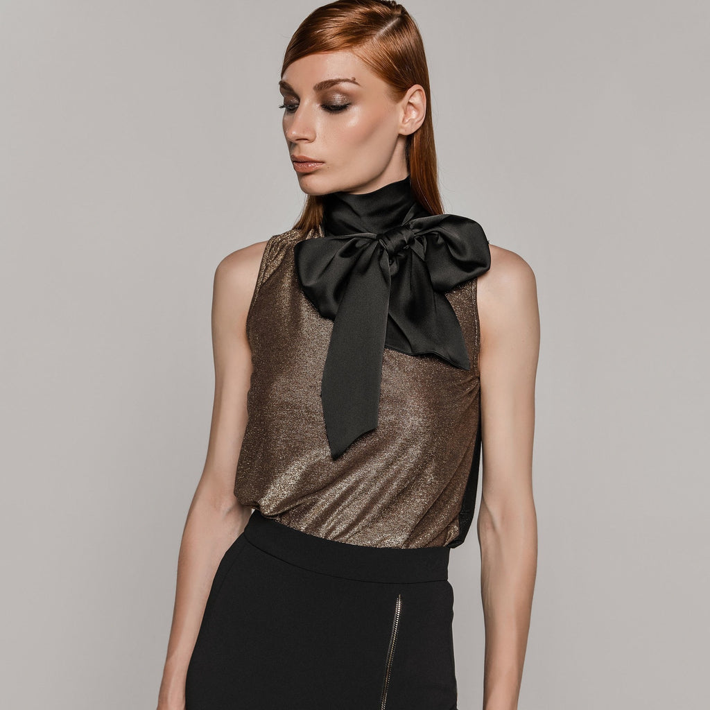 Bronze High Neck Top with Tie