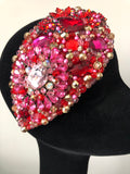 Teardrop in Red Pink and Gold Crystals