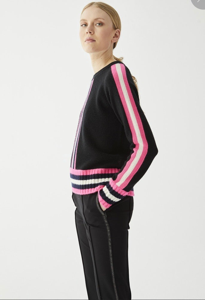 Lorene Sweater in Black with Pink Ivory Trims