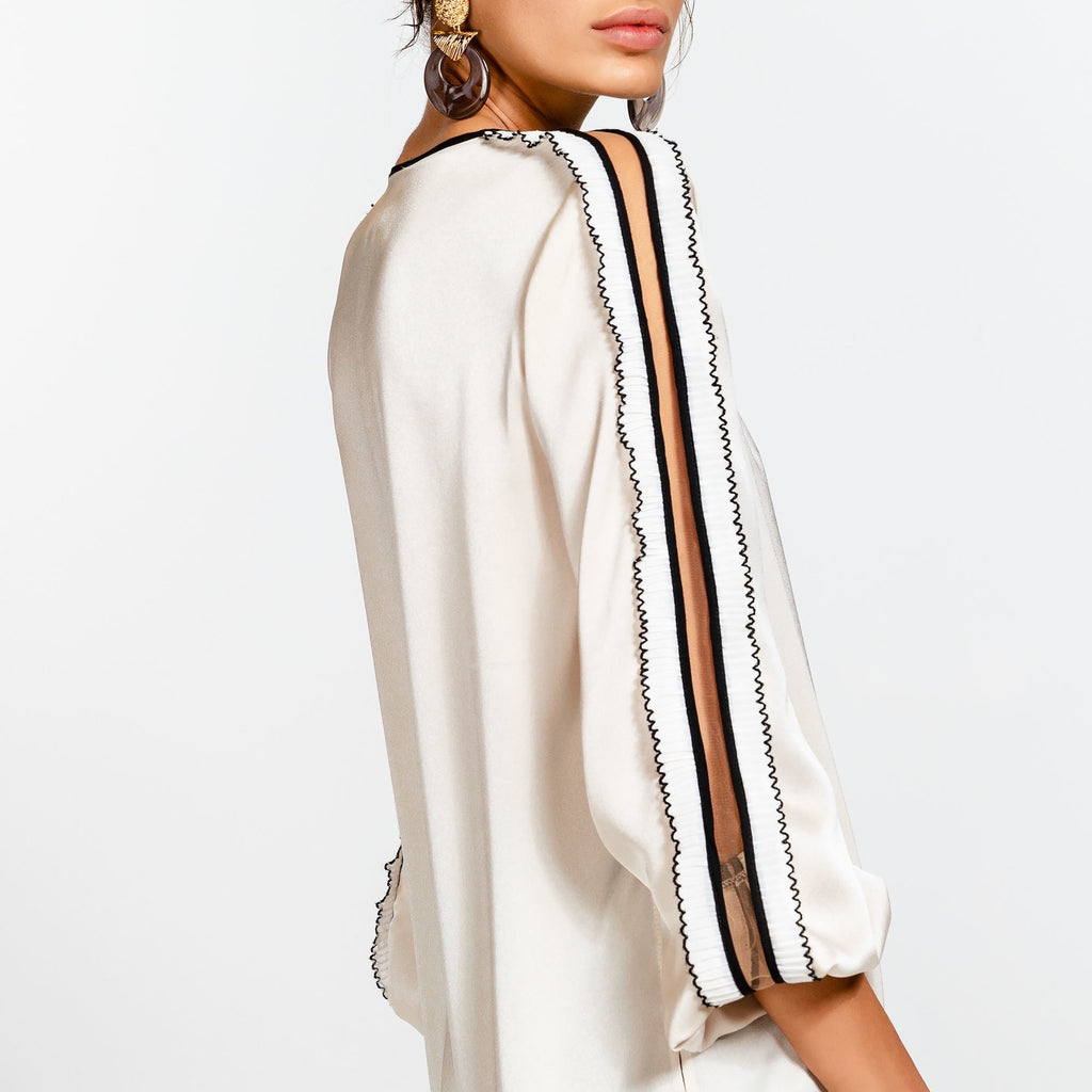 Cream Blouse with Black and Ivory Frill on Sleeve