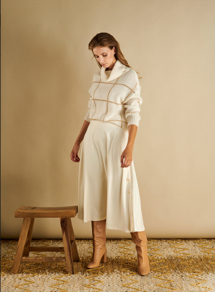 Sweater with Roll Collar and Metallic Gold Thread