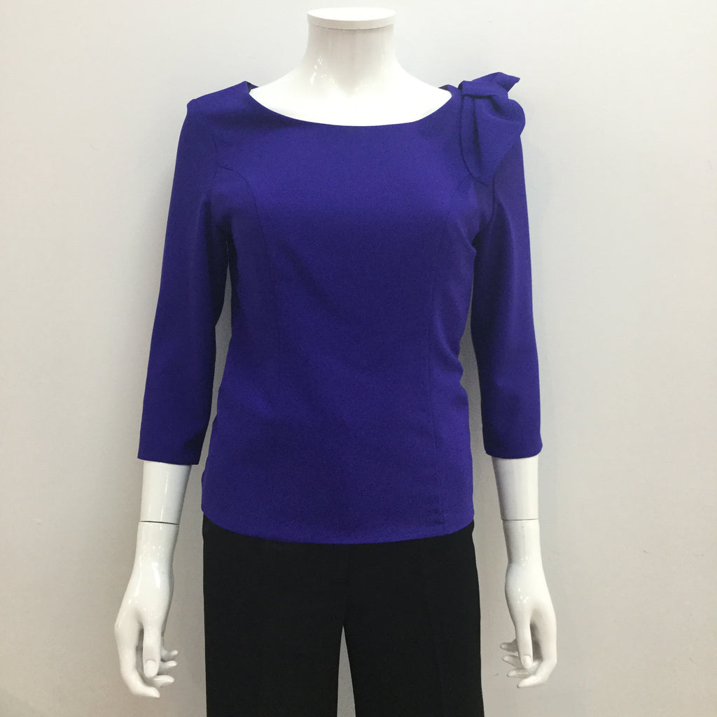 Blue Top with Sleeves and Bow Detail
