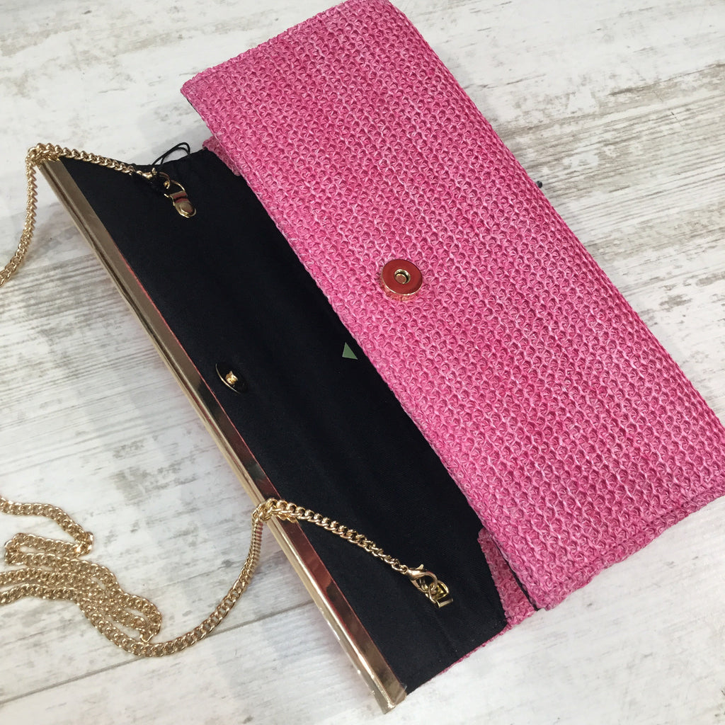 Willow Pink Mesh Clutch