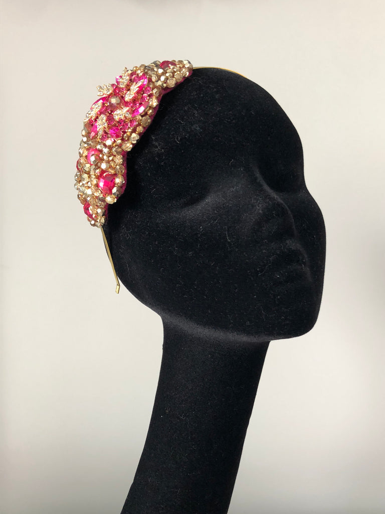 Plumeria Headpiece in Hot Pink and Gold Crystals