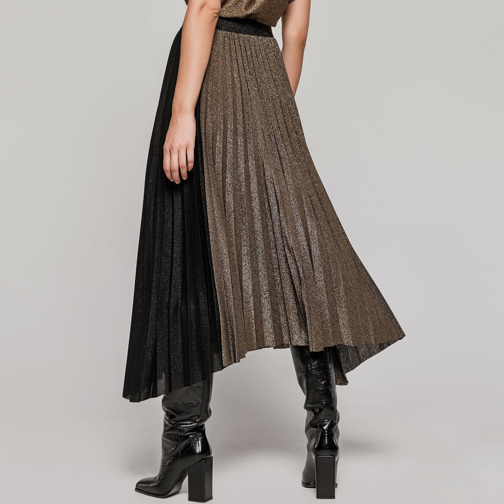 Bronze and Black Lurex Pleated Skirt