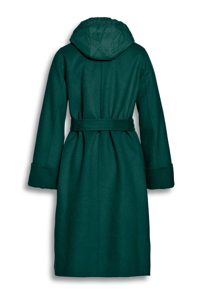 Seagreen Wool Coat with Detachable Insert