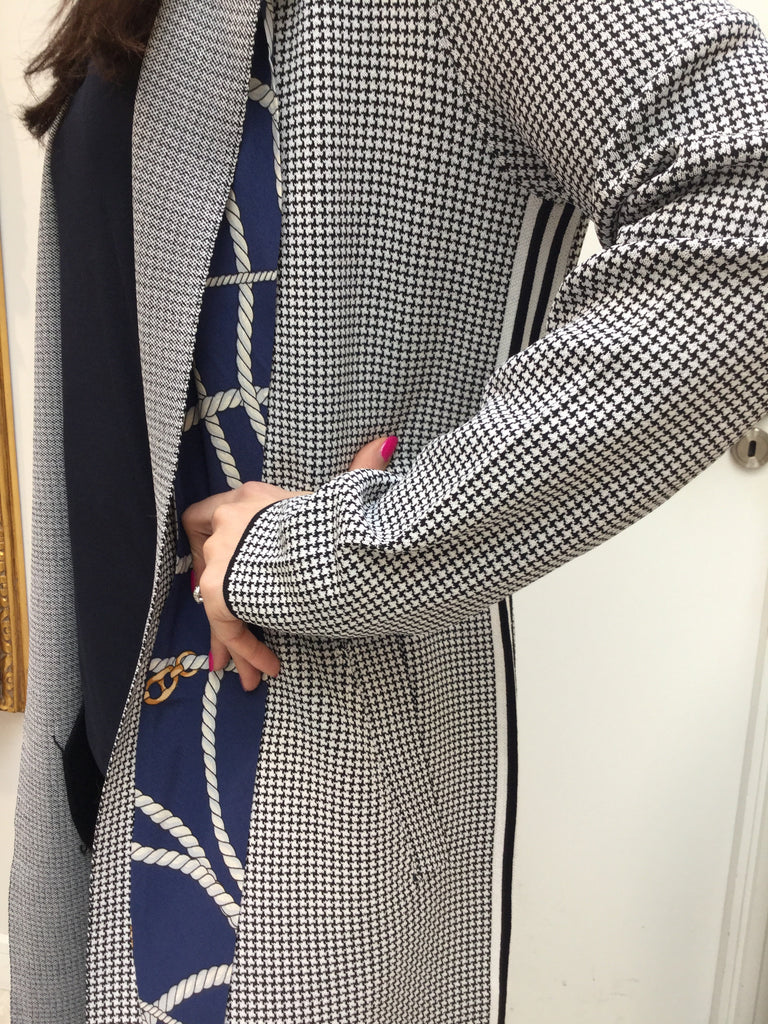 Navy and Ivory Houndstooth Cardigan