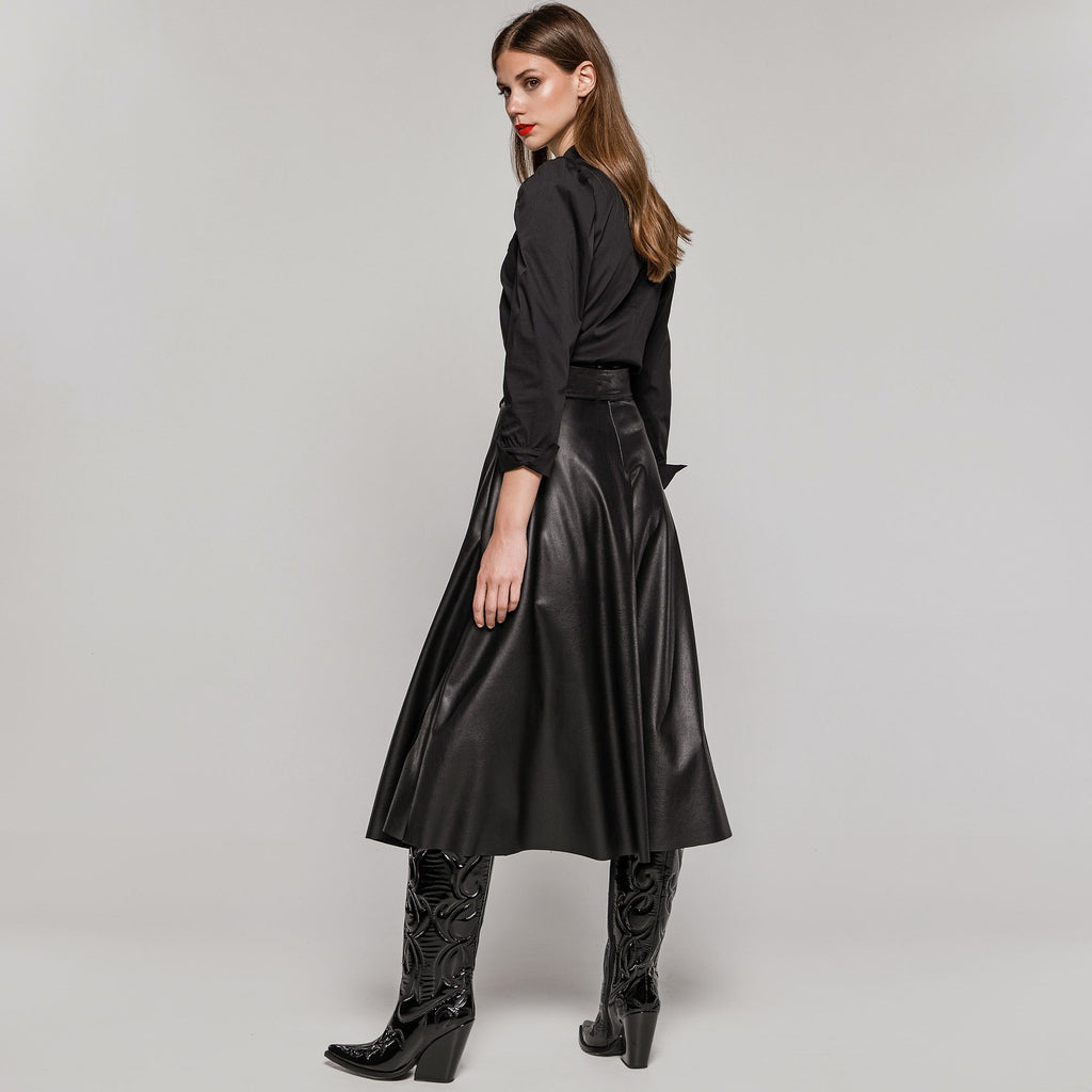 Leather Look ALine Skirt with Detachable Belt