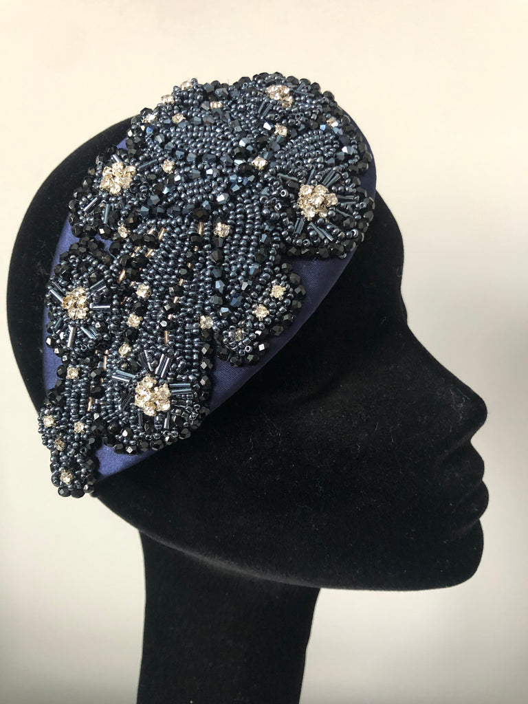 Teardrop in Navy Black and Silver Crystals on Navy Satin