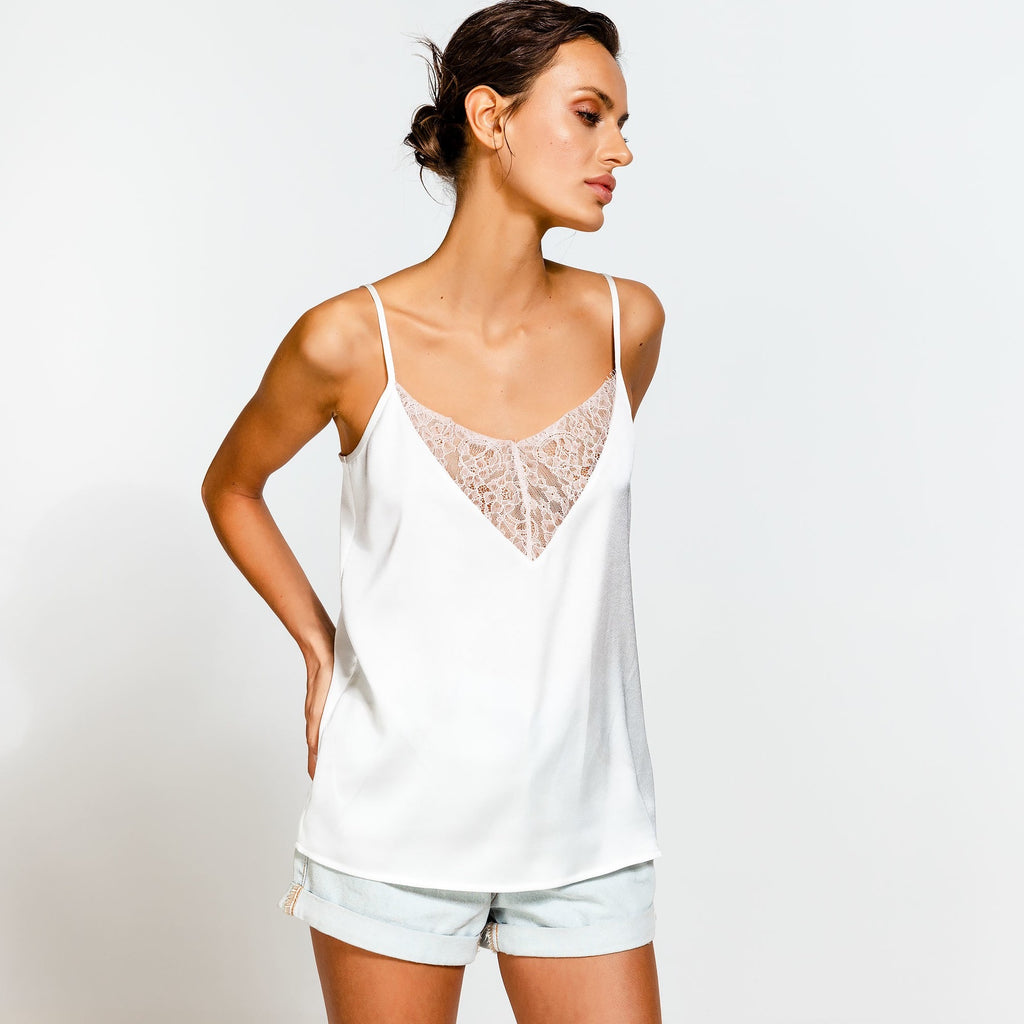 Camisole  With Lace Detail White