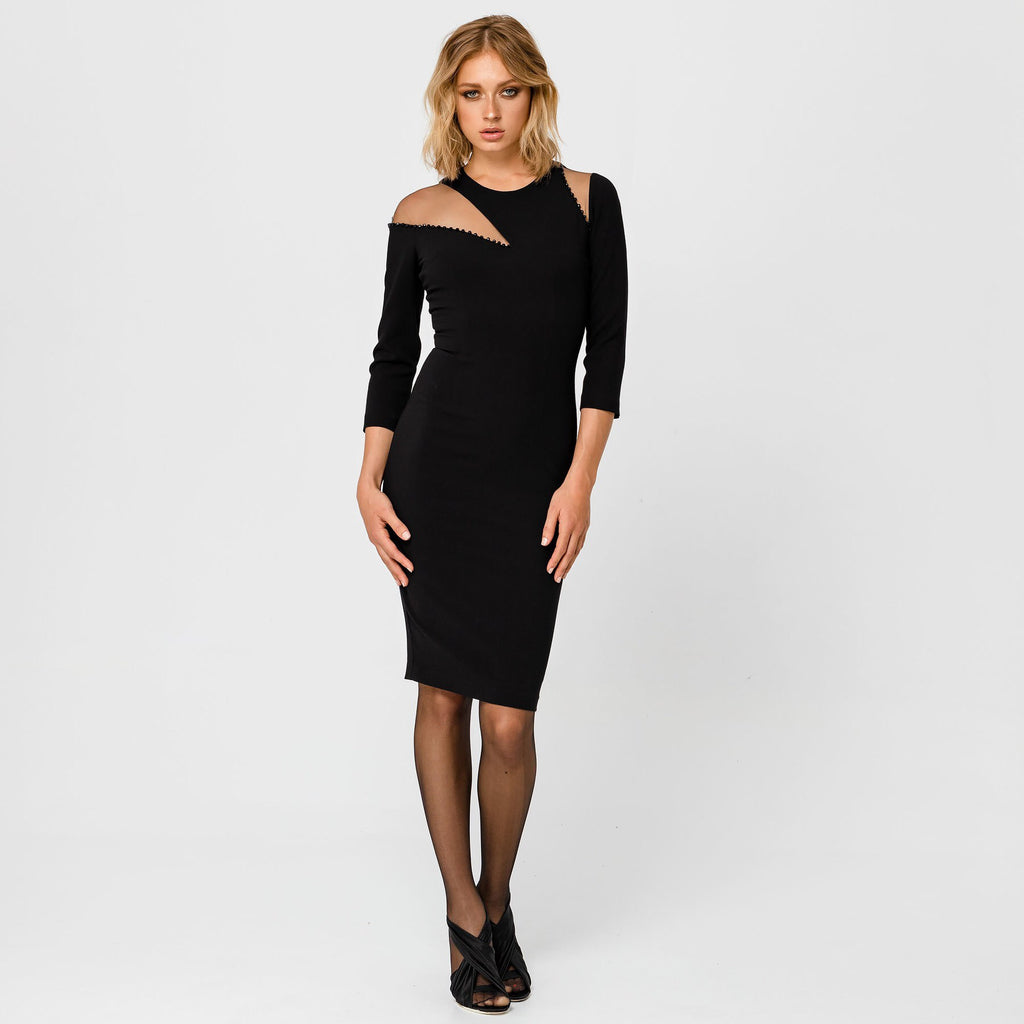Shoulder Mesh Panel Dress With Beading