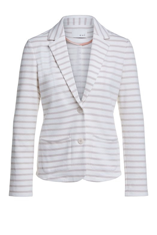 Striped Jersey Blazer in Beige and Ivory