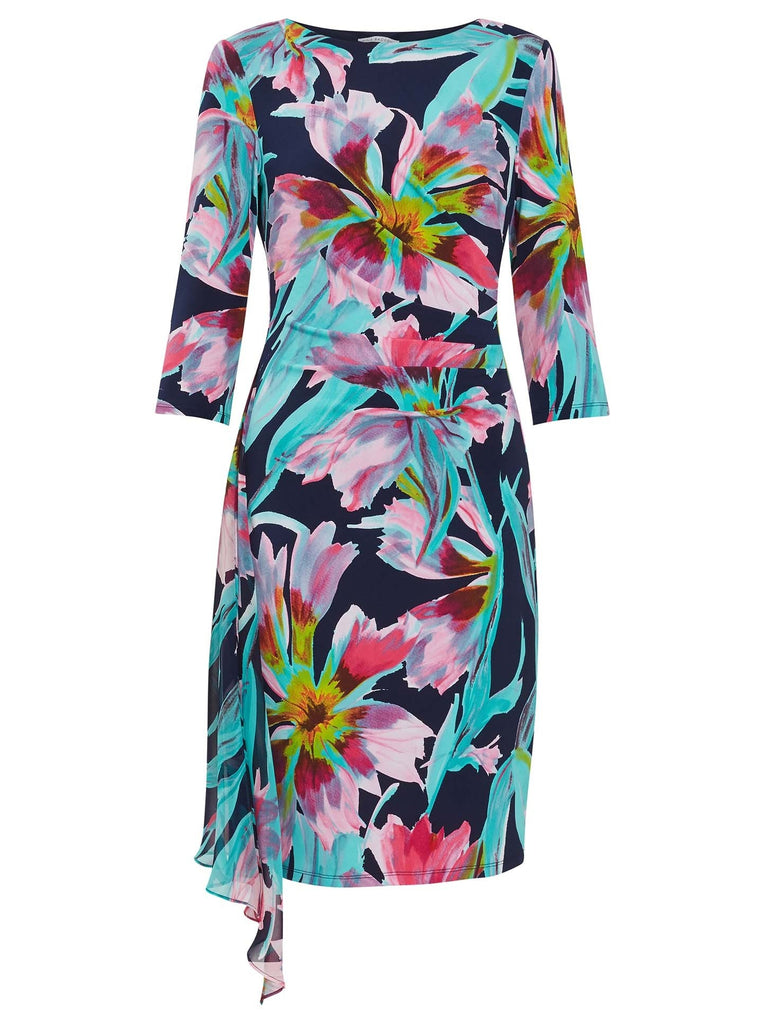 Tropical Print Jersey and Chiffon Dress