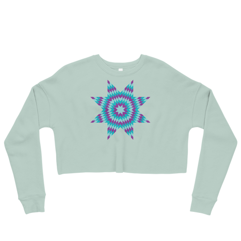 Teal Star Crop Sweatshirt