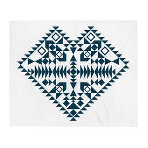 Dark Blue Aztec Heart Throw Blanket