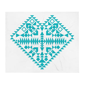 Blue Aztec Heart Throw Blanket