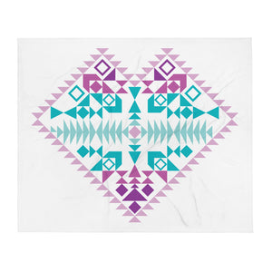 Multi- Colored Aztec Heart Throw Blanket