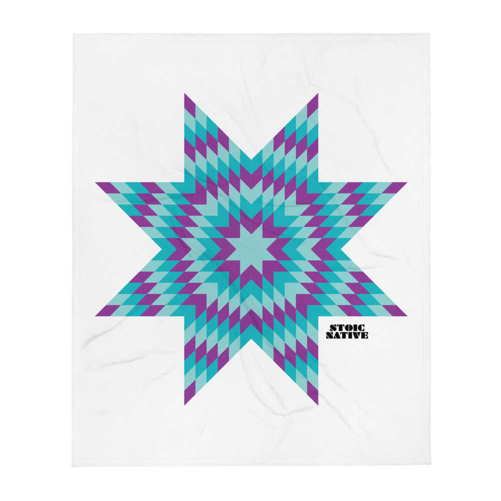 Purple Blue Star Throw Blanket