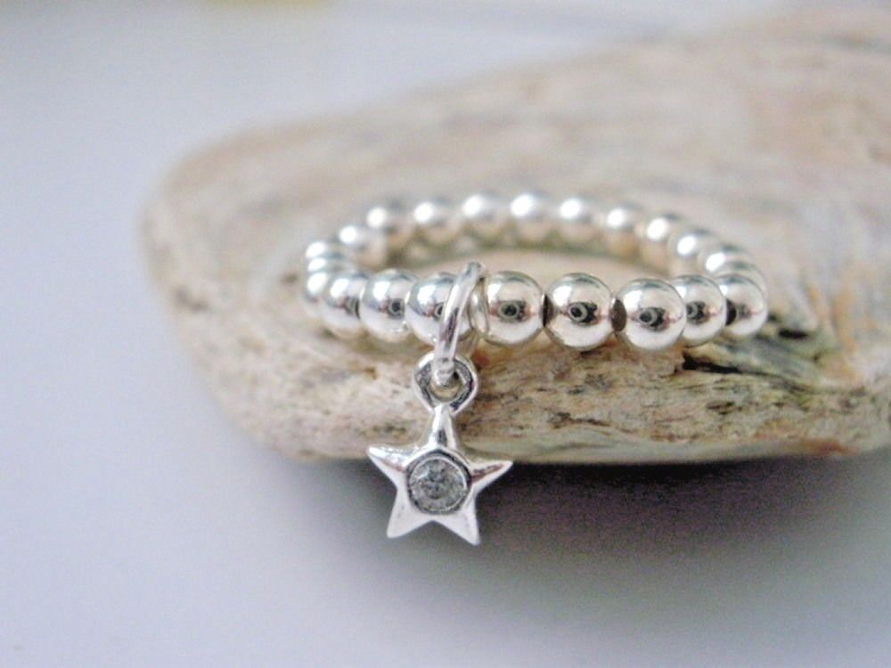 925 Sterling Silver Ball Stacking Ring With CZ Star Charm | Kelabu Jewellery