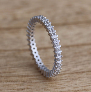 925 Sterling Silver Full Eternity Stacking Ring Cubic Zirconia | Kelabu Jewellery
