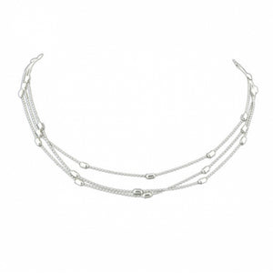 Beaded Boho Choker Necklace in Silver by Kelabu Jewellery