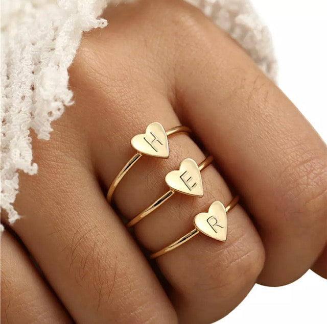 Dainty Initial Letter Heart Stacking Ring