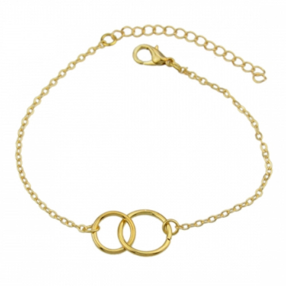 The Kelabu Double Karma circle gold boho bracelets laid out on a white background