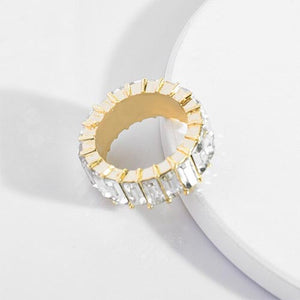 Gold Emerald Cut Bling Stacking Ring - White