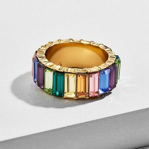 Gold Emerald Cut Bling Stacking Ring - Rainbow Multicolour