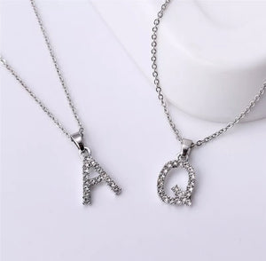 Dainty Silver Full Cubic Zirconia Initial Necklace | Kelabu Jewellery