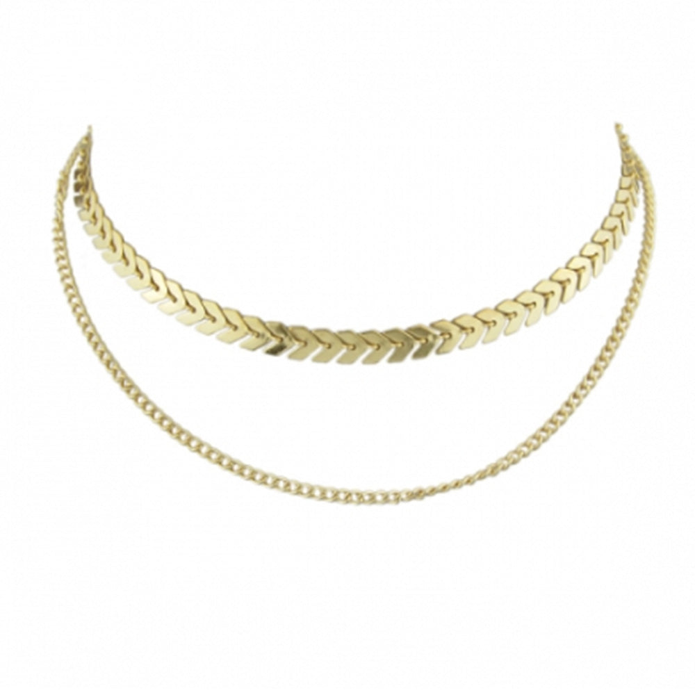 The gold choker necklace by Kelabu on a plain white background