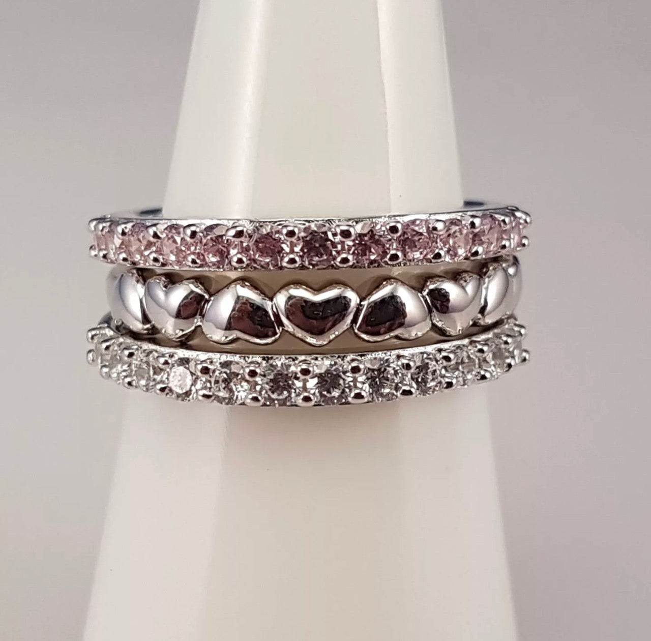 Sterling silver and cubic zirconia hearts stacking ring set | Kelabu Jewellery