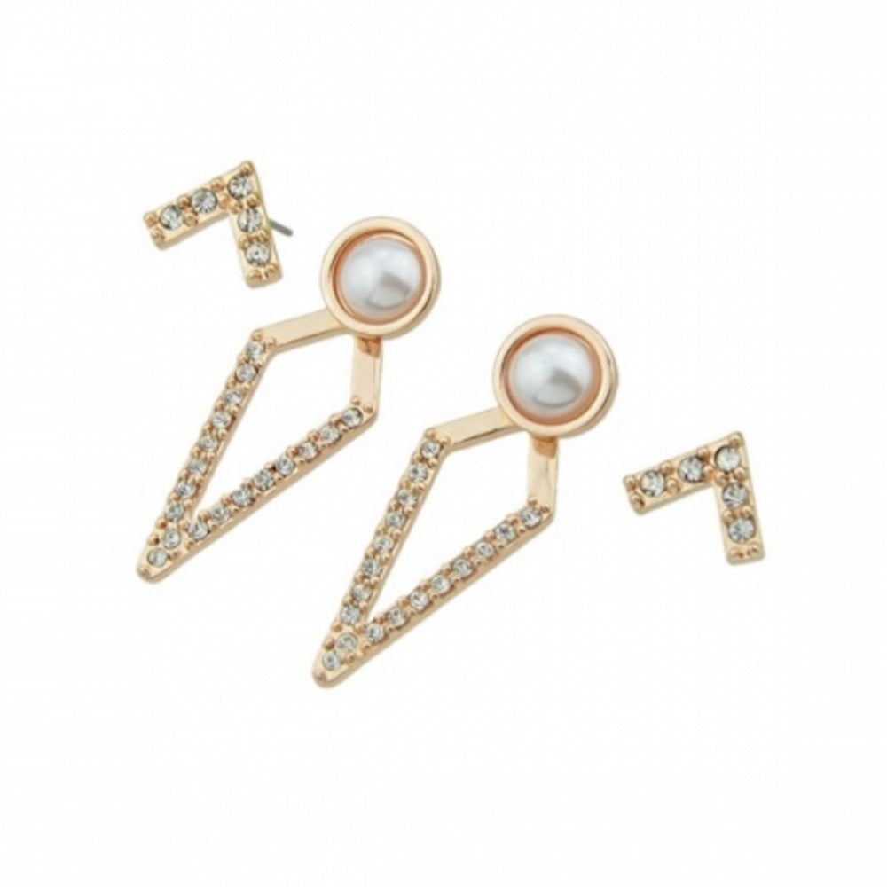 Kelabu rhinestone earrings in gold and with centre pearl on a white background