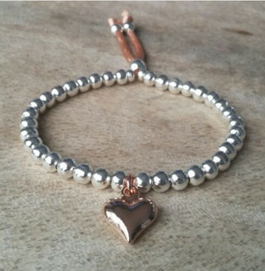 Silver And Rose Gold Beaded Heart Charm Bracelet | Kelabu Jewellery