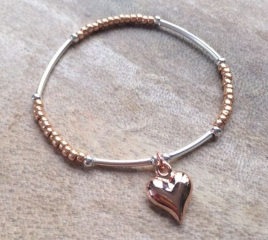 Silver And Rose Gold Hearts Bracelet Stack - Set of 3