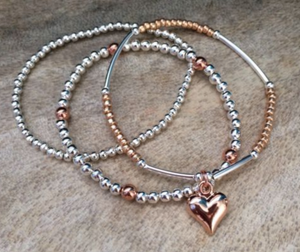 Silver And Rose Gold Hearts Bracelet Stack - Set of 3 | Kelabu Jewellery