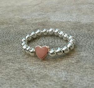 Silver Ball Stacking Ring With Rose Gold Heart Charm | Kelabu Jewellery