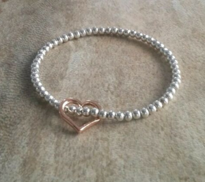 Silver Beaded Bracelet With Rose Gold Floating Heart Charm | Kelabu Jewellery