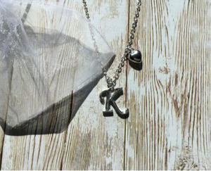 Silver Plated Initial Letter Pendant Necklace With Block Heart Charm