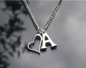 Silver Plated Initial Letter Pendant Necklace With Floating Heart Charm | Kelabu Jewellery