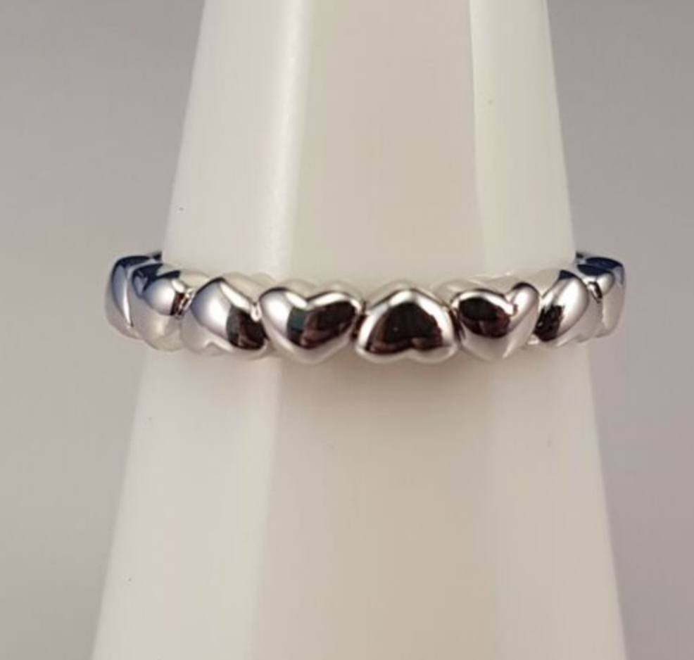 Sterling Silver & Cubic Zirconia Hearts Layered Stacking Ring Set
