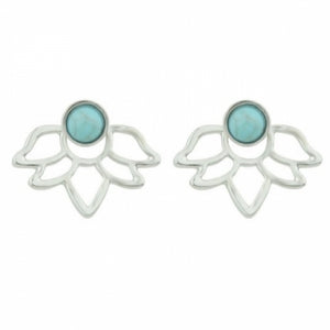 Silver and turquoise gem behind the ear earrings with a bohemian design