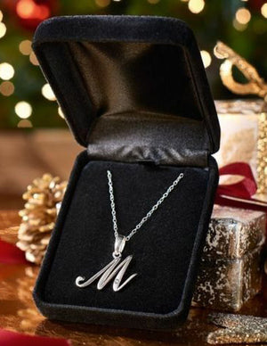 Delicate Diamond Set Initial Pendant Sterling Silver Necklace