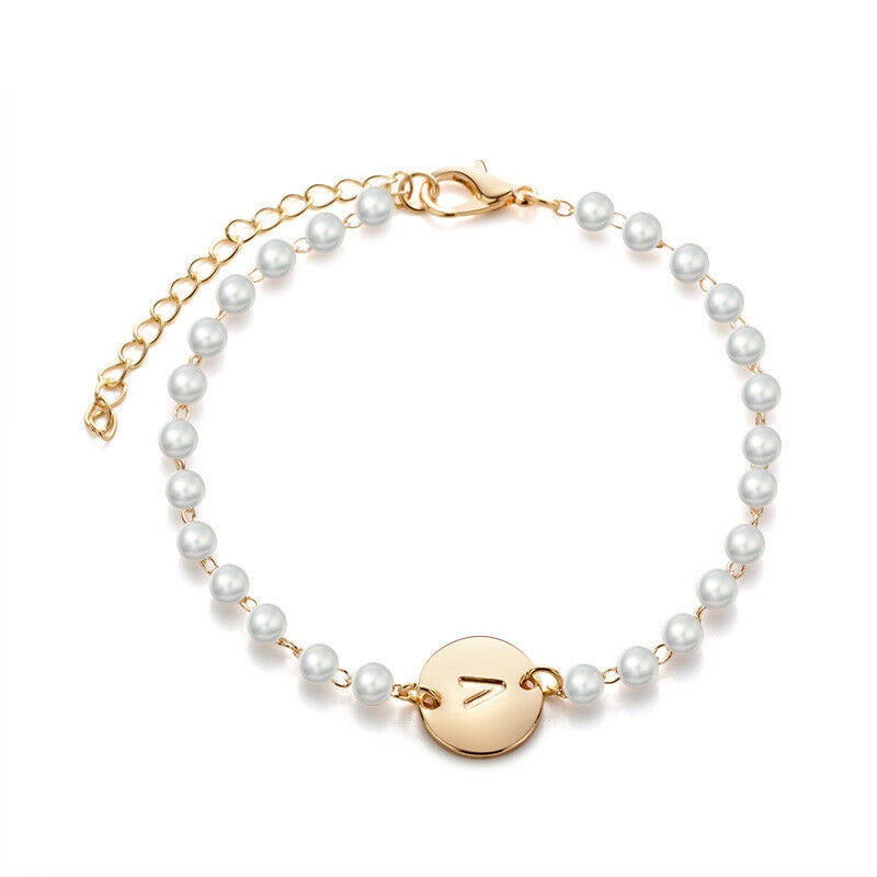 Circle Pearl Initial Pendant Bracelet In Gold Or Silver